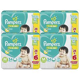 Combo 4 Tã Dán Pampers Baby Dry Gói Đại - Size M M34 (34 Miếng)