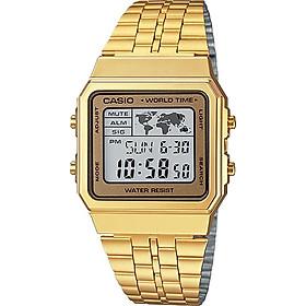 Đồng Hồ Điện Tử Casio A500WGA-9DF Dây Kim Loại Mạ Vàng - 5 Chế Độ Báo Thức