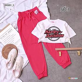 Set áo croptop quần jogger thể thao dễ thương cho bé gái Tuổi BXG001-3