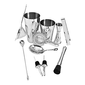 11 PCS Cocktail Shaker Set with Boston Shaker Cup and 3 Different Strainers Stainless Steel Cocktail Mixology Kit with