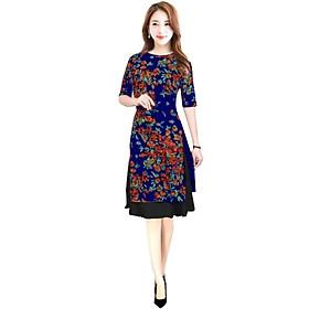Áo dài nữ kèm chân váy hoa lá SP3
