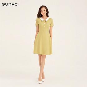 Đầm cổ lật trắng nơ GUMAC DB106