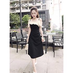 Đầm đen hở vai 2 dây nhúm eo sang chảnh thiết kế che khuyết điểm vai cực kì phù hợp đi chơi dự tiệc  V1574