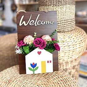 Bảng Gỗ hoa treo tường trang trí Welcome