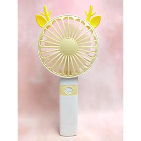 Quạt Mini Cầm Tay Cao Cấp Có Thể Gấp Tiện Dụng, Fan 2 Tốc Độ Gió Kèm Usb Cắm Sạc Hình Sừng Tuần Lộc