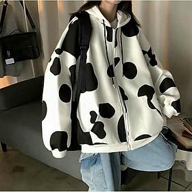 Áo khoác nam nữ thun cotton 4 chiều in 3D bò sữa siêu đẹp phong cách dễ thương,Áo khoác hoodie nỉ nữ form rộng in màu 3D họa tiết bò sữa cực đẹp phong cách Ulzzang chống nắng tốt
