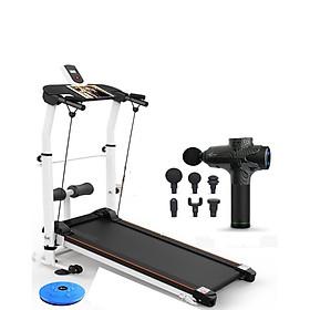 Combo máy chạy bộ cơ không dùng điện + giá đỡ tập cơ bụng + bàn xoay eo + dây cáp co giãn + máy mát xa massage đa năng 7 cấp độ
