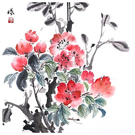 Tooarts Blooming Flowers Chinese Flower Painting Wall Art Artist Hand-Painted Chinese Brush Painting Traditional