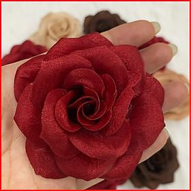 Tag Hoa Hồng Lớn Cài Áo, Kiểu Cài Áo Hoa Có Ghim, Có Trâm Cài Áo Váy Màu Nâu Đậm, màu da, Đỏ  - Kích Thước 8-9 CM CH002