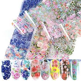 Bộ 10 tấm decal họa tiết hoa lá phpng cách Nhật Bản trang trí móng tay siêu xinh, siêu tiện ích