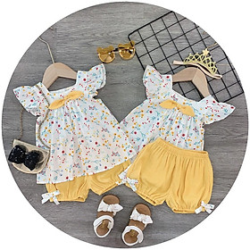 Bộ quần áo bé gái chất thô đũi mềm mại kiểu hoa nhí tay con nơ vàng cho bé gái từ 8kg đến 20kg