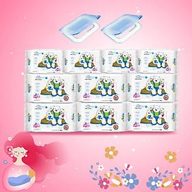 ( Combo 6 + 4) Khăn ướt làm sạch tinh khiết dành cho bé Oma&Baby với công thức Chlorhexidine Digluconate kháng khuẩn an toàn, dịu nhẹ trong khăn ( 6 gói 85 tờ và 4 gói 25 tờ ) - Combo 6 packages of Oma&Baby premium baby wet wipes (  85 sheets per package*