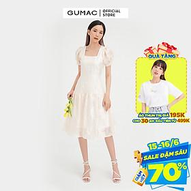 Đầm suông nữ cổ vuông GUMAC thiết kế váy nhún tùng màu kem đủ size DB4100