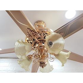 Quạt trần đèn có điều khiển, 5 cánh sải cánh 1m32 KLS045