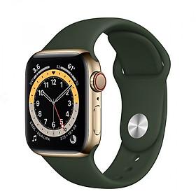 Đồng Hồ Thông Minh Apple Watch Series 6 LTE GPS + Cellular Stainless Steel Case With Sport Band (Viền Thép & Dây Cao Su) - Hàng Chính Hãng VN/A