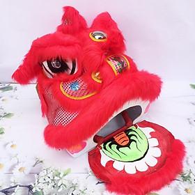 Đầu lân trung thu có đèn cỡ đại 57cm x 54cm x 53cm - Màu đỏ