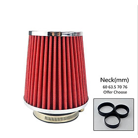 """RED 3"""" 76mm Inlet Cold Air Intake Cone Replacement Quality Dry Air Filter"""