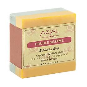 Xà phòng tắm thiên nhiên AZIAL Double Sesame Exfoliating Soap, xà bông cục handmade tẩy tế bào chết, dưỡng ẩm, giúp da sáng mịn, hương thơm Bạc Hà sảng khoái