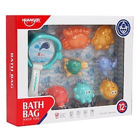 Set 8 món đồ chơi nhà tắm hình con thú vui nhộn đáng yêu chất liệu an toàn cho bé Huanger HE0250