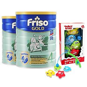 Bộ 2 lon Sữa Bột Friso Gold 4 Cho Trẻ Từ 2-4 Tuổi 1.5kg + Tặng Bộ Đồ Chơi Câu Cá