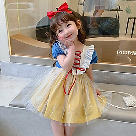 Đầm Công Chúa Bạch Tuyết Tặng kèm Nơ Váy Cổ Vuông Tay Ngắn Phong Cách Hàn Quốc Thời Trang Cho Bé Gái