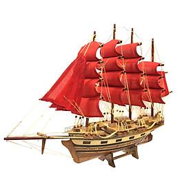 Mô hình thuyền gỗ trang trí France II - thân 40cm - buồm đỏ