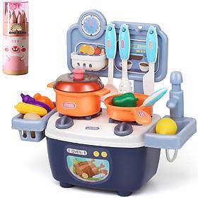 Đồ chơi nấu ăn, bộ đồ chơi nhà bếp có nhạc cho bé trai và bé gái - tặng hộp bút chì màu 12 chiếc