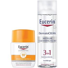 Combo Kem Chống Nắng Cho Da Nhạy Cảm Eucerin Sun Fluid Mattifying Face SPF50+ (50ml) Và Tẩy Trang 3in1 Cho Da Nhạy Cảm Eucerin Dermato Clean Micellar Cleansing Fluid 3 In 1 (200ml)