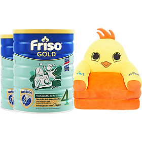Bộ 2 Lon Sữa Bột Friso Gold 4 Cho Trẻ Từ 2-4 Tuổi 1.5kg + Tặng Giường Sofa Gà Con