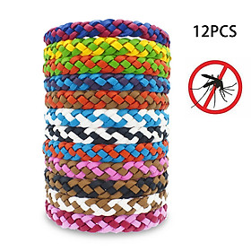12Pcs Insect Repellent Bracelet PU Waterproof Bands Anti-mosquito for Women Men Baby Kids