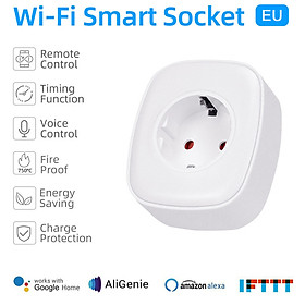Tuya Mini Smart WiFi Socket EU Remote Control by Smart Phone from Anywhere Timing Function, Voice Control for Amazon