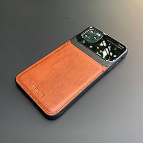 Ốp lưng da kính cao cấp dành cho iPhone 11 Pro Max - Màu vàng nâu - Hàng nhập khẩu - DELICATE