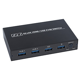 AIMOS AM-KVM 201CL 2-in-1 HDMI/USB KVM Switch Support HD 2K*4K 2 Hosts Share 1 Monitor/Keyboard& Mouse Set