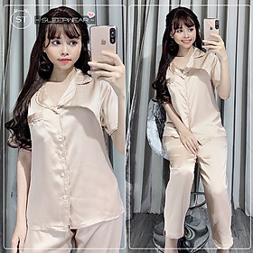 Bộ lụa mặc nhà nữ - Freesize - Giao màu ngẫu nhiên - MSP 141219
