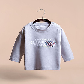 Classic Teddy Classic Teddy Children's Long Sleeve Shirts Boys and Girls T-Shirts Kids Spring New Tops Blue Gale Bear - Flower Grey 120