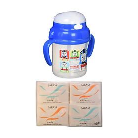 Combo Bình nước có vòi hút cho bé + Set 16 gói khăn giấy bỏ túi - Nội địa Nhật Bản