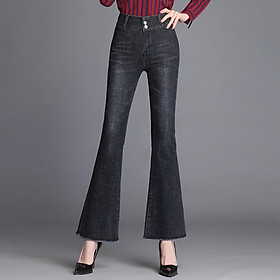 Women's high-waisted, thin, frayed bootcut jeans Korean style fashion trend all-match long pants agent (20)