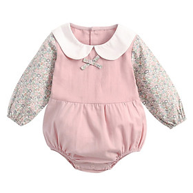 Cotton Long Sleeve Newborns Baby Bodysuits Fresh Floral Baby Girls Clothes Kids Jumpsuit Shirt Collar Infant Clothing