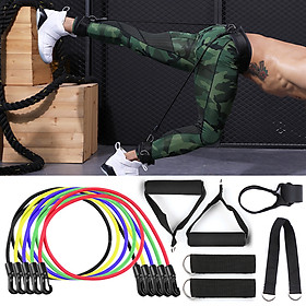 11pcs Resistance Bands Set Workout Fintess Exercise Tube Bands Door Anchor Ankle Straps Cushioned Handles with Carry-3