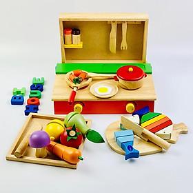 Combo bộ đồ đồ chơi nhà bếp bằng gỗ cao cấp Mykids gồm : bộ nấu ăn - bộ cắt cá- bộ cắt trái cây