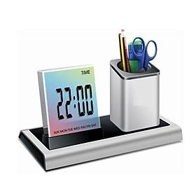 Hộp cắm bút kiêm đồng hồ để bàn đa năng hiển thị thời gian, nhiệt độ thiết kế nhỏ gọn, độc đáo M4 ( Tặng kèm bộ dán trang trí dạ quang phát sáng hình con bướm )