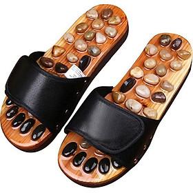Dép Massage khảm đá Bấm huyệt bàn chân trên gỗ tự nhiên, Bấm Huyệt chân Giảm căng thẳng mệt mỏi cao câp