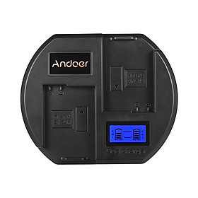 Ổ Sạc Nhanh Andoer Màn Hình LCD Đầu Cắm USB Cho Pin Nikon EN-EL14 Cho Máy Ảnh Nikon D3300 D5200 D5300 DF D5500 (2 Khe) Đen