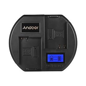Ổ Sạc Nhanh Andoer Màn Hình LCD Củ Sạc Nhanh US Đầu Cắm USB Cho Pin Nikon EN-EL14 Cho Máy Ảnh Nikon D3300 D5200 D5300 DF D5500 (2 Khe) Đen