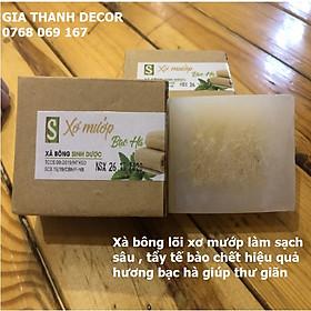 Xà Bông Xơ Mướp hương Sả / Bạc Hà (Bánh 120gr) Xà bông handmade 100% thiên nhiên chính hãng Sinh Dược, Mùi thơm đặc trưng của tinh dầu bạc hà, sả chanh chiết xuất tự nhiên giúp giải tỏa stress, tẩy da chết hiệu quả từ xơ mướp
