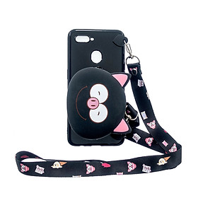 Fun For OPPO A7/F9/F9 Pro Cellphone Case Mobile Phone TPU Shell Shockproof Cover with Cartoon Cat Pig Panda Coin Purse Lovely Shoulder Starp