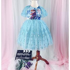Váy công chúa Elsa màu xanh bé gái 2-10 tuổi