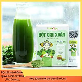 Bột cải xoăn hữu cơ sấy lạnh Dalahouse - Hộp 20 gói 3gr tiện lợi - Đào thải độc tố, chống ô xy hóa, bổ sung can xi hữu cơ cho cơ thể