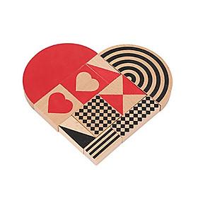 Đồ chơi gỗ xếp hình Miniso trái tim - Hàng chính hãng