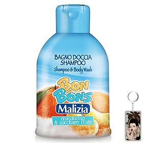 Sữa tắm gội trẻ em  Malizia Bon Bons hương quýt và kẹo bông 500ml tặng kèm móc khóa